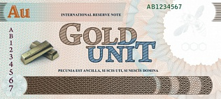 The gold-containing banknote in modern style. Front.